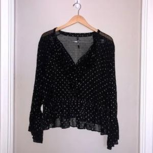 Black and Gold Sheer Long Sleeve Top